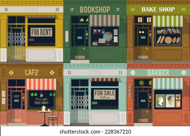 Vector flat modern illustration on multiple small shop and store facades | Different small business stores and shops