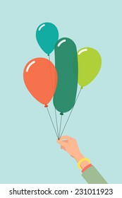 Vector flat modern illustration on female hand holding balloons