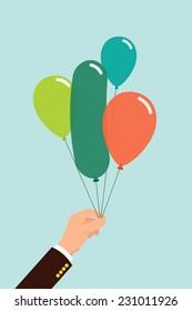 Vector flat modern illustration on male hand holding balloons