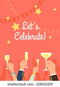 Vector flat modern invitation background on party time with multiple raised hands holding champagne glasses, cheering | Simple corporate celebration event background with 'Let's celebrate!' title