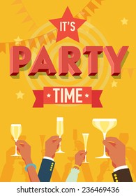 Vector flat modern invitation background on party time with multiple raised hands holding champagne glasses, cheering | Simple corporate celebration event background with 'it's party time' 3d title