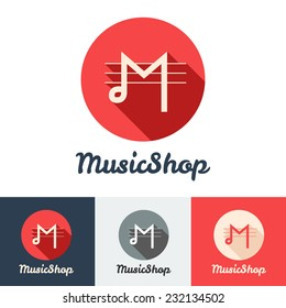 Vector flat modern minimalistic music shop or studio logo set