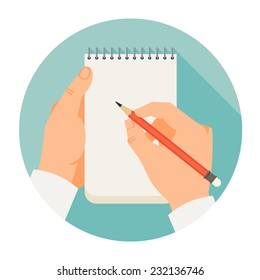 Vector flat modern round icon on hands holding notebook and pencil