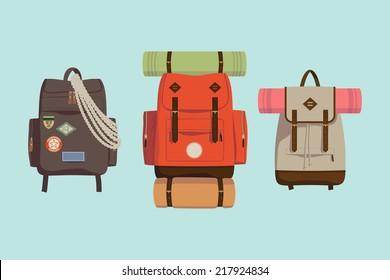 Vector flat modern set of three hiking backpacks | Three retro looking stylish camping and mountain exploring backpacks