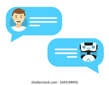 Vector flat modern style cartoon character illustration icon design. Isolated on white background. Chat bot robot concept, Dialog help service.Cute smiling chat bot is written off with a person man.