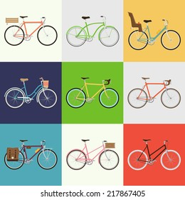 Vector flat modern urban, town and city bicycles set   Various different bicycles with wooden crates, baby seats, travel and touring bicycle, pink bicycle, white tires, carbon wheels and more