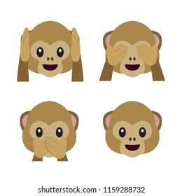 Vector flat monkey emoji