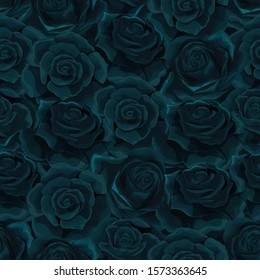 Vector flat moonlight rose flowers seamless pattern background illustration. Floral theme in gothic night colors and velvet texture style. Design for fabric, textile, clothes, wraping paper or cards