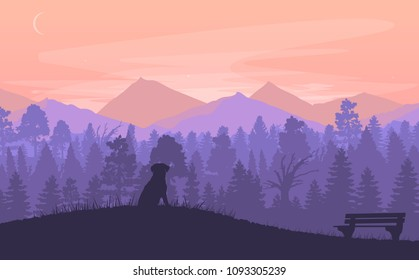 Vector flat mountains landscape. Dog sitting on a grass in the mountains. Nature background.