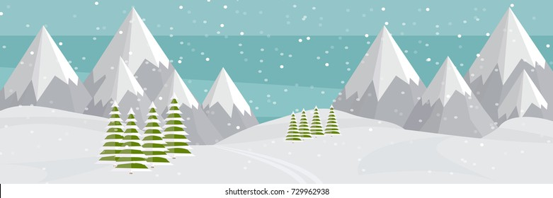 Vector flat mountains panoramic illustration. Mountaineering winter banner, web design. High mountains, fir trees, ski trail, snowfall. Alps, wide panoramic background.