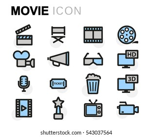 Vector flat movie icons set on white background