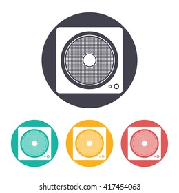 Vector flat music icon with set of 3 colors