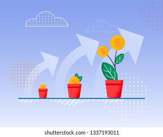 Vector Flat on Blue Sky Background Big Up Arrows. Flowerpot Planted Plants Gradual Growth Tree Cent Becomes Larger. Profit Making Interest Investment Company Profit Gradual Increase in Income.