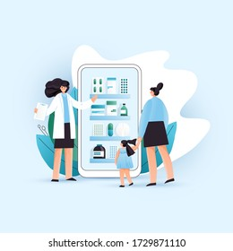 Vector flat online pharmacy illustration with Woman and a Child consultating online with pharmacist and choosing correct treatment in online drugstore, pharmaceutical company