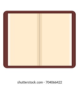 Vector Flat Open Brown Notepad with Blank White Pages