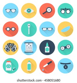 Vector flat optometry icon set with long shadow.