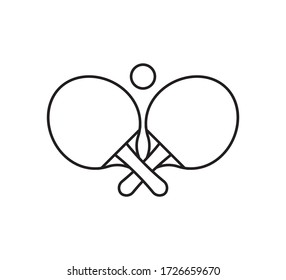 Vector flat outline ping pong table tennis crossed rackets and ball icon isolated on white background