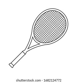 Vector flat outline tennis racket isolated on white background