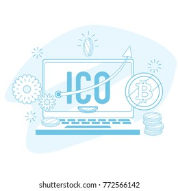 Vector flat outlined ICO bitcoin cryptocurrency online trading illustration. Modern blockchain investment and raising money