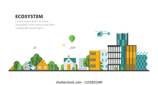 Vector flat panorama - hunting lodge, village, old district and modern city. Urban landscape.
