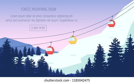 Vector flat  panoramic illustration with high mountains covered with snow, pines, cableway and beautiful sky.