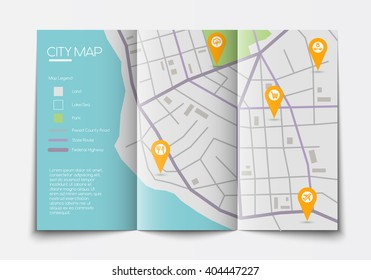 Vector flat paper city map lying open, top view, abstract map with legend