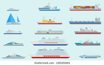 Vector flat passenger, cargo ships and ocean yacht  icon set. Side view ocean cruise liner, cargo ships and ocean yacht collection.