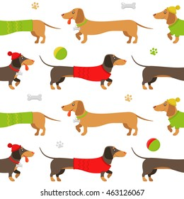 Vector flat pattern of brown and ginger dachshunds, wearing clothes, playing toys, on a walk