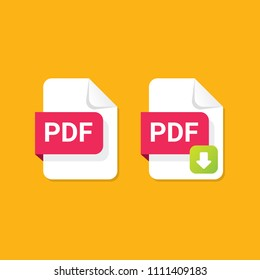 vector flat PDF file icon and vector pdf download icon set isolated on orange background. Vector document or presentation icon design template for web site or mobile app