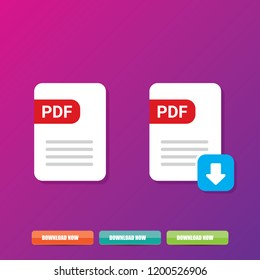 vector flat PDF file icon and vector pdf download icon set isolated on violet background. Vector document or presentation icon design template for web site or mobile app