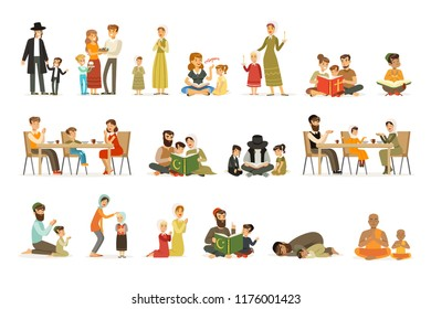 Vector flat people characters of different religions set. Jews, Catholics, Muslims, Buddhists. Families in national costumes that pray, read holy books, celebrate holidays.