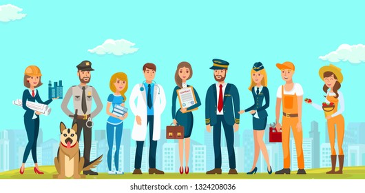 Vector Flat People Men and Women Different Specialties. Builders Designers Guard with Dog Young Lawyer Doctor Woman in Blue Dress with Contract Briefcase. Documents Pilot Flight Attendant Plumber .