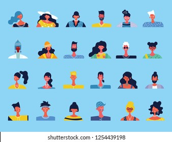 Vector flat people portraits. Smiling human icon. Human avatar. Simple cute characters. Cute friendly people. Man, boy icon. Woman, lady, young girl icon isolated on light background.