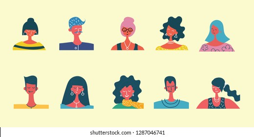Vector flat people portraits. Smiling human icon. Human avatar. Simple cute characters. Cute friendly people. Man, boy icon. Woman, lady, young girl icon isolated on light background
