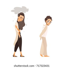 vector flat people suffering from mental illness set. Man anxious, walking in mental hospital uniform in depression fear, sad unhappy woman feel rain above her. Isolated illustration