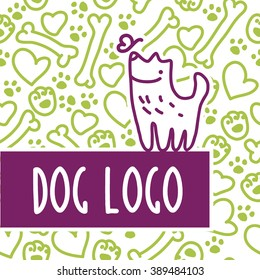 Vector flat pet. Dog, cat simple icon. Pet shop logo, animal goods store, shelter, pet food logo brand design. Pet center insignia. Kid shop logo. Seamless trace stamp pattern.