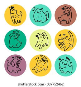 Vector flat pet logo. Dog, cat simple icon. Pet shop logo, animal goods store, pet food logo brand design. Pet center insignia. Kid shop logo.