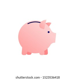 Vector flat piggybank money save illustration. FGradient pink pig isolated on white background. Concept of banking, income deposite, pension. Design element for business banner, poster, infographic