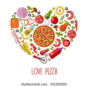 Vector flat pizza's icons in heart shape top view. Ingredients - tomato, olive, onion, pepper, mushroom, shrimp, cheese, bacon, pineapple, sausage. Love Pizza.