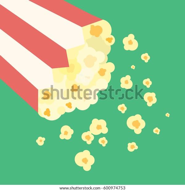 Vector Flat Popcorn Striped Buckets Illustration