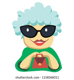 vector flat portrait of a fashionable grandmother wearing glasses with a bag, cartoonish, funny with a smile