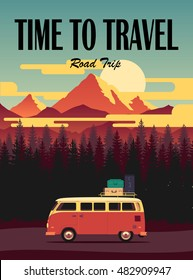 Vector flat poster on theme road trip, adventure, trailering, outdoor recreation, adventures in nature, vacation. Modern flat design. Time to travel