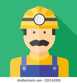 Vector flat profession miner colorful icon. Eps10