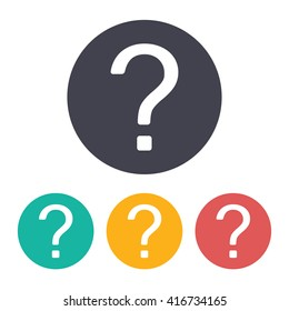 Vector flat question mark icon with set of 3 colors