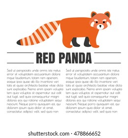 vector flat red panda. animal symbol. logo for company isolated on background.