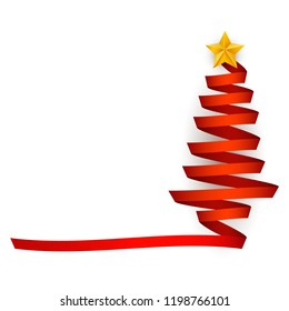 Vector flat red ribbon christmas tree with golden star at top. Traditional winter holiday, merry christmas and happy new year decoration design element, greeting invitation card element