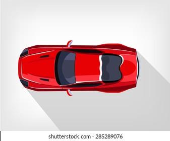 Vector flat red sport car illustration