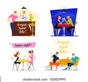 Vector flat restaurant people illustration. Cartoon style. Funny happy people at cafe, bar table. Boy and girl in love sitting in restaurant on a date. Evening party. Waiter, cheerful men characters.