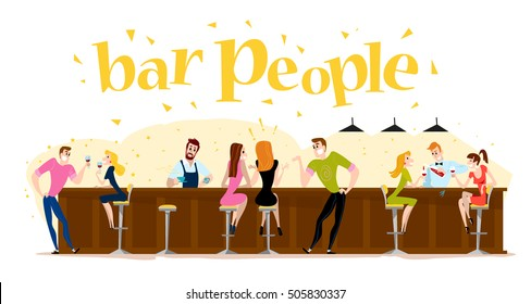 Vector flat restaurant people illustration. Cartoon style. Funny cute people at cafe table, bar table. Boy and girl sitting in restaurant on a date. Evening party. Waiter, visitor characters.