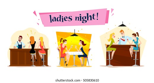 Vector flat restaurant people illustration. Cartoon style. Funny happy people at cafe table, bar table. Girl company sitting in restaurant. Evening party. Waiter, cheerful women characters.